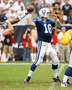 September 12, 2010- Peyton Manning throws a pass just in time to avoid pressure from the Texans defense.  The Texans opened their 2010 season with a 34-24 win over the Indianapolis Colts.