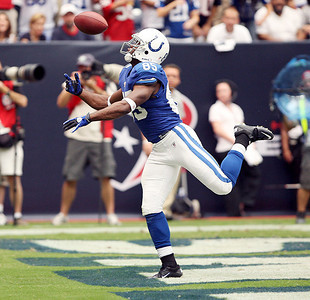 Colts receiver Pierre Garcon drops a potential touchdown pass from Peyton Manning in the first half.