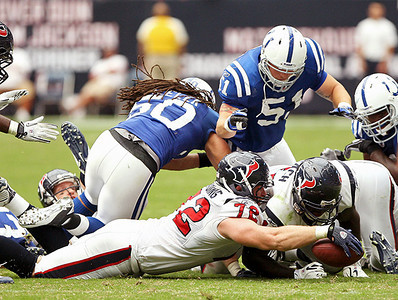 September 12, 2010- The Indianapolis Colts attempt an onside kick in the last minutes of the game. The Houston Texans recoverd the kick and ran out the clock to open their 2010 season with a 34-24 win over the Colts.