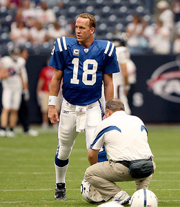 September 12, 2010- Colts quarterback Peyton Manning stretches during pre-game warmups. The Houston Texans opened their 2010 season with a 34-24 win over the Indianapolis Colts.