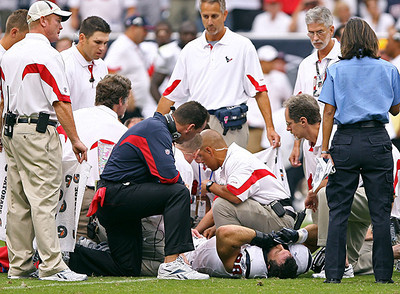 September 12, 2010- Medical personnel attend to injured Texans defensive end Connor Barwin during the first half of Sunday's game.  Barwin suffered a season-ending ankle injury on the play.