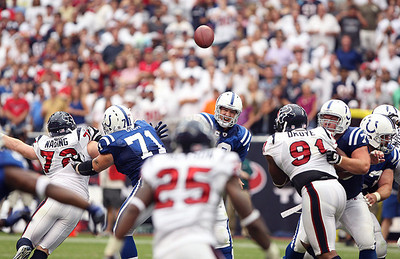 September 12, 2010- Peyton Manning attempts a second half pass. The Houston Texans open their 2010 season with a 34-24 win over the Indianapolis Colts.
