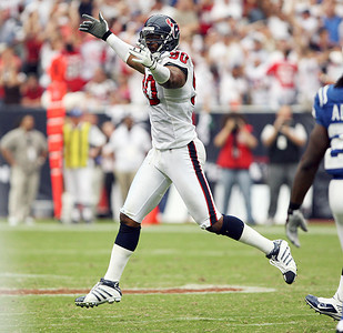 September 12, 2010- Mario Williams reacts after sacking quarterback Peyton Manning in the second half. The Houston Texans opened their 2010 season with a 34-24 win over the Indianapolis Colts.