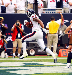 September 12, 2010- Adrian Foster scampers into the endzone in the fourth quarter for a touchdown. The Houston Texans opened their 2010 season with a 34-24 win over the Indianapolis Colts.