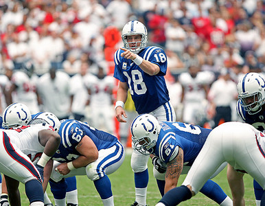 September 12, 2010- Colts quarterback Peyton Manning directs traffic at the line of scrimmage during the first half. The Houston Texans opened their 2010 season with a 34-24 win over the Indianapolis Colts.
