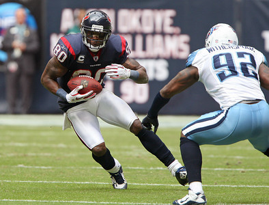 November 28 2010 - Houston Texans wide receiver Andre Johnson makes a first half reception.  Johnson finished the game with 9 receptions for 56 yards and a touchdown.