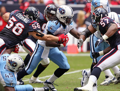 November 28 2010 - The Houston Texans held Tennessee Titans running back Chris Johnson to just 5 rushing yards for the game. The Texans defeated the Titans 20-0 at Reliant Stadium.
