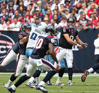November 28 2010 - Quarterback Matt Schaub completes a first half pass to Andre Johnson.