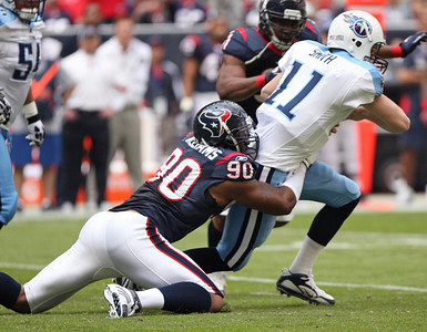 November 28 2010 - Mario Williams sacks Tennessee Titans quarterback Rusty Smith on the Titans' first play from scrimmage. The Houston Texans defeated the Titans 20-0 at Reliant Stadium.
