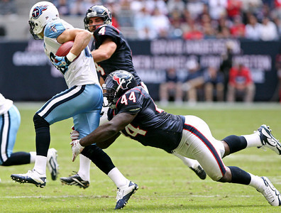 November 28 2010 - Houston Texans fullback Vonta Leach makes a fourth quarter tackle on Tennessee Titans receiver Marc Mariani during a kickoff return. The Texans defeated the Titans 20-0 at Reliant Stadium.