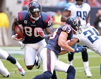 November 28 2010 - Houston Texans wide receiver Andre Johnson tries to gain yards after a fourth quarter reception. The Texans defeated the Tennessee Titans 20-0 at Reliant Stadium.