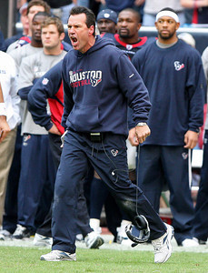 November 28 2010 - Houston Texans head coach Gary Kubiak is fired up after an altercation between Texans receiver Andre Johnson and Tennessee Titans cornerback Cortland Finnegan.  Both Johnson and Finnegan were ejected for fighting.