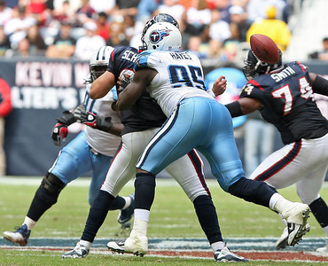 November 28 2010 - Tennessee Titans defensive end William Hayes sacks Houston Texans quarterback Matt Schaub and forces a fumble to end the first half.