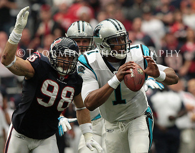 December 18, 2011; Houston, TX, USA; Houston Texans outside linebacker Connor Barwin (98) sacks Carolina Panthers quarterback Cam Newton (1) in the first quarter at Reliant Stadium. Mandatory Credit: Troy Taormina-US PRESSWIRE