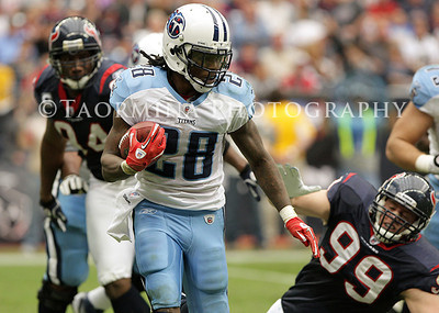 January 01, 2012; Houston, TX, USA; Tennessee Titans running back Chris Johnson (28) rushes in the second quarter against the Houston Texans at Reliant Stadium. Mandatory Credit: Troy Taormina-US PRESSWIRE