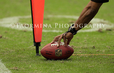 December 18, 2011; Houston, TX, USA; Officals measure the spot of a ball in the third quarter during a game between the Houston Texans and the Carolina Panthers at Reliant Stadium. Mandatory Credit: Troy Taormina-US PRESSWIRE