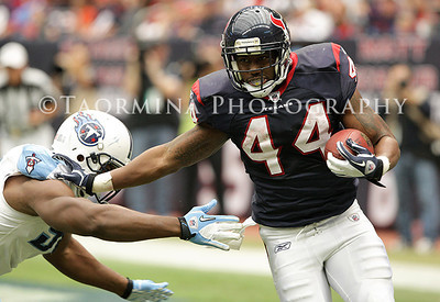 January 01, 2012; Houston, TX, USA; Houston Texans running back Ben Tate (44) rushes in the second quarter against the Tennessee Titans at Reliant Stadium. Mandatory Credit: Troy Taormina-US PRESSWIRE
