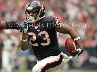 December 18, 2011; Houston, TX, USA; Houston Texans running back Arian Foster (23) rushes in the third quarter against the Carolina Panthers at Reliant Stadium. Mandatory Credit: Troy Taormina-US PRESSWIRE