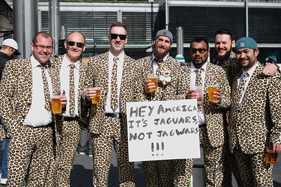 Fans at NFL International Series match between Indianapolis Colts and Jacksonville Jaguars at Wembley Stadium on October 2, 2016 in London, England.