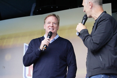Roger  Goodell - Commissioner of the National Football League (NFL) speaks at the NFL International Series match between Indianapolis Colts and Jacksonville Jaguars at Wembley Stadium on October 2, 2016 in London, England.