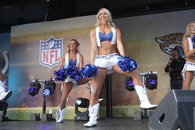 Indianapolis Colts cheerleaders perform at the backfield party  ahead of the NFL International Series match between Indianapolis Colts and Jacksonville Jaguars at Wembley Stadium on October 2, 2016 in London, England.