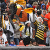 Michael Allen Blair/ MBlair@21st CenturyMedia.com<br /> Steelers' fans celebrate a second quarter touchdown during Sunday's game at FirstEnergy Stadium in Cleveland, OH. on November 24, 2013.