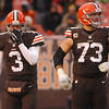 Michael Allen Blair/ MBlair@21st CenturyMedia.com<br /> Browns' quarterback Brandon Weeden walks off the field with offensive lineman Joe Thomas after throwing a costly fourth quarter interception during Sunday's Steelers' 27-11 Steelers' victory at FirstEnergy Stadium in Cleveland, OH. on November 24, 2013.