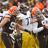 Michael Allen Blair/ MBlair@21st CenturyMedia.com<br /> Browns' defensive linemen from left; Paul Kruger, Phil Taylor, and Ahtyba Rubin watch a Steelers' field goal kick sail through the uprights during the first quarter of Sunday's game at FirstEnergy Stadium in Cleveland, OH. on November 24, 2013.