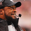 Michael Allen Blair/ MBlair@21st CenturyMedia.com<br /> Steelers' head coad Mike Tomlin is all smiles during during the fourth quarter of Sunday's Steelers' 27-11 Steelers' victory at FirstEnergy Stadium in Cleveland, OH. on November 24, 2013.