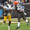 Michael Allen Blair/ MBlair@21st CenturyMedia.com<br /> Steelers' wide receiver Antonio Brown hauls in a touchdown catch in front of the Browns' Joe Haden during the second quarter of Sunday's game at FirstEnergy Stadium in Cleveland, OH. on November 24, 2013.