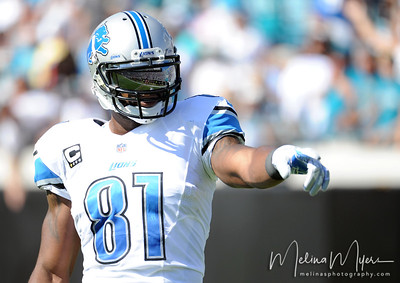 Nov 4, 2012; Jacksonville, FL, USA; Detroit Lions wide receiver Calvin Johnson (81) points to the sidelines during the first half of the game against the Jacksonville Jaguars at EverBank Field. Mandatory Credit: Melina Vastola-US PRESSWIRE.
