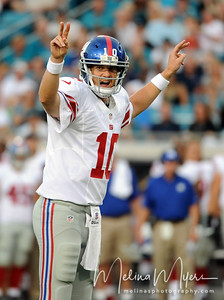 Aug 10, 2012;  Jacksonville, Florida, USA; New York Giants quarterback Eli Manning (10) calls an audible during the first quarter of the preseason game against the Jacksonville Jaguars at EverBank Field. Mandatory Credit: Melina Vastola-US PRESSWIRE