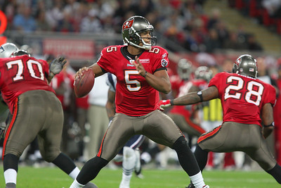 Josh Freeman Quarter Back for Tampa in action during the Tampa Bay Buccaneers v New England Patriots NFL International Series game at Wembley Stadium - October 25 2009