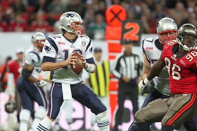 Tom Brady of the Patriots in action during the Tampa Bay Buccaneers v New England Patriots NFL International Series game at Wembley Stadium - October 25 2009