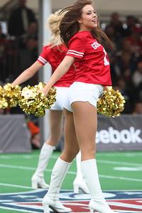 San Francisco 49er Gold Rush Cheerleaders perform at the NFL International Game at Wembley Stadium 31 Oct 2010