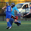 CARL RUSSO/Staff photo. Winnacunnet High School defeated Salem High School 2-0 in field hockey tournament action Thursday night. Salem's goalie, Brianna Rastello makes the save. 10/25/2012.