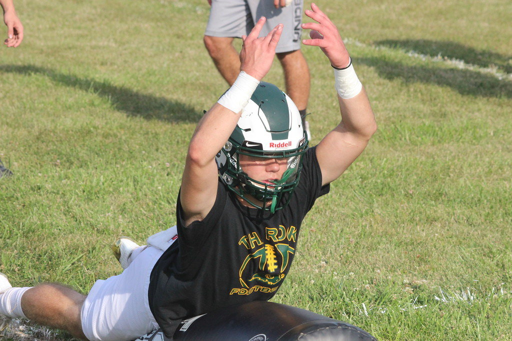 . Flat Rock kicked off the 2017 season on Monday, which was the first official day for football practice in Michigan. The Rams are looking to build on last year\'s four-win season. (Photo Gallery by Ricky Lindsay)