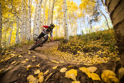 Mike Giese enters Vail mountain's Mane Lane trail with authority during stage one of the Outlier RockShox Enduro mountain bike race on Sunday. The Outlier Enduro is a three stage timed downhill race with riders attempting to post the lowest overall combined time.