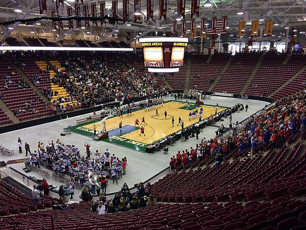 The Univeristy of Minnesota's Mariucci Arena is set up for basketball before the Class AA quarterfinal game between NRHEG and Pequot Lakes Wednesday. The floor is from the Xcel Energy Center in St. Paul. Pat Christman