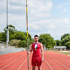 Jeffersonville's Tony Coppola poses with his vaulting pole on the Jeffersonville High School track. Staff Photo By Josh Hicks