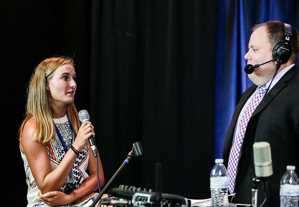 Halli Trinkle, Providence's girls tennis player of the year sits down for an interview with Matt Denison of WXVW at the NTSPY reception on Tuesday.