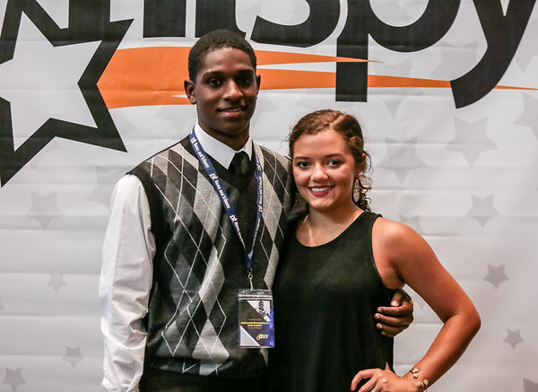 Darquan Richardson, left, and Mayah Peters pose for a picture at the NTSPY reception on Tuesday.