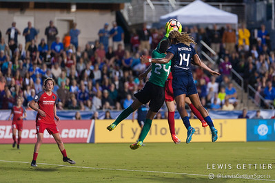 Adrianna Franch (24)  and Jessica McDonald (14) during a match between the NC Courage and the Portland Thorns in Cary, NC in Week 2 of the 2017 NWSL season. Photo by Lewis Gettier.