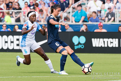 Chioma Ubogagu (6)  and Abby Erceg (6) during a match between the NC Courage and the Orlando Pride in Cary, NC in Week 3 of the 2017 NWSL season. Photo by Lewis Gettier.