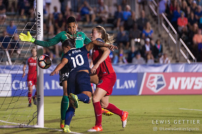 Adrianna Franch (24) , Emily Sonnett (16), and Debinha (10) during a match between the NC Courage and the Portland Thorns in Cary, NC in Week 2 of the 2017 NWSL season. Photo by Lewis Gettier.