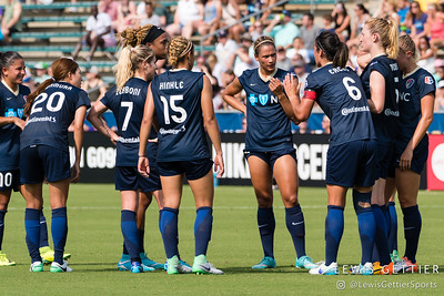NC Courage captain Abby Erceg (6) talks to the team after they conceded a goal during a match between the NC Courage and the Orlando Pride in Cary, NC in Week 3 of the 2017 NWSL season. Photo by Lewis Gettier.