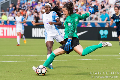 Sabrina D'Angelo (1) and Chioma Ubogagu (6) during a match between the NC Courage and the Orlando Pride in Cary, NC in Week 3 of the 2017 NWSL season. Photo by Lewis Gettier.