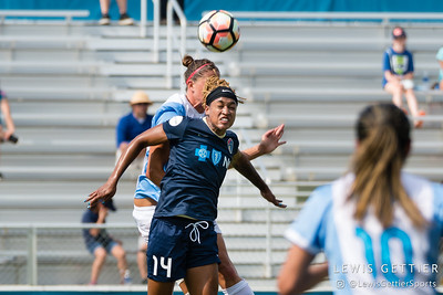 Jessica McDonald (14) during a match between the NC Courage and the Orlando Pride in Cary, NC in Week 3 of the 2017 NWSL season. Photo by Lewis Gettier.