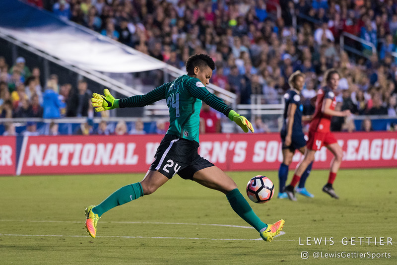 Adrianna Franch (24) during a match between the NC Courage and the Portland Thorns in Cary, NC in Week 2 of the 2017 NWSL season. Photo by Lewis Gettier.