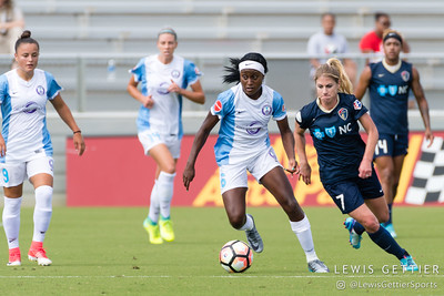 Chioma Ubogagu (6) and McCall Zerboni (7) during a match between the NC Courage and the Orlando Pride in Cary, NC in Week 3 of the 2017 NWSL season. Photo by Lewis Gettier.